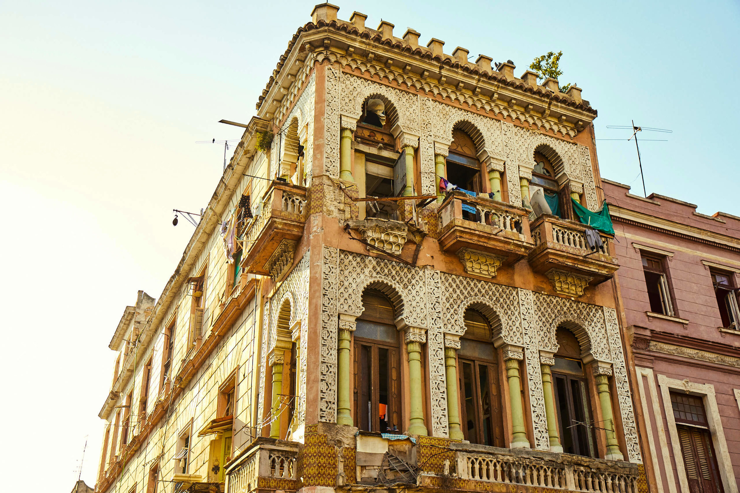 Beautiful residential building in Havana — the city is filled with historical architecture