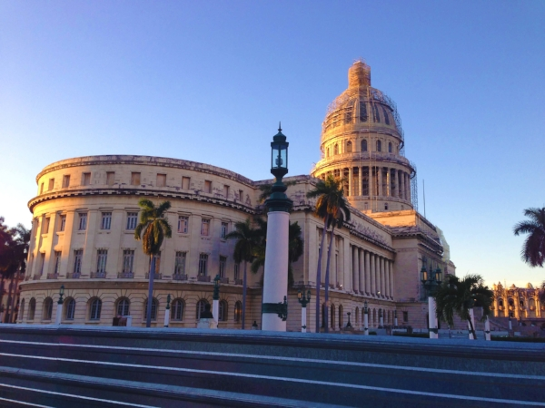 The sun sets over El Capitolio in Havana, Cuba
