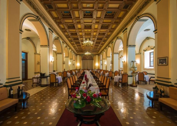 Beautiful archways and elaborately carved ceilings decorate the interior dining hall at the Hotel Nacional. If these walls could talk...