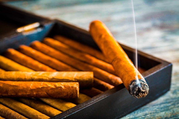 Hand rolled Cuban cigars in box