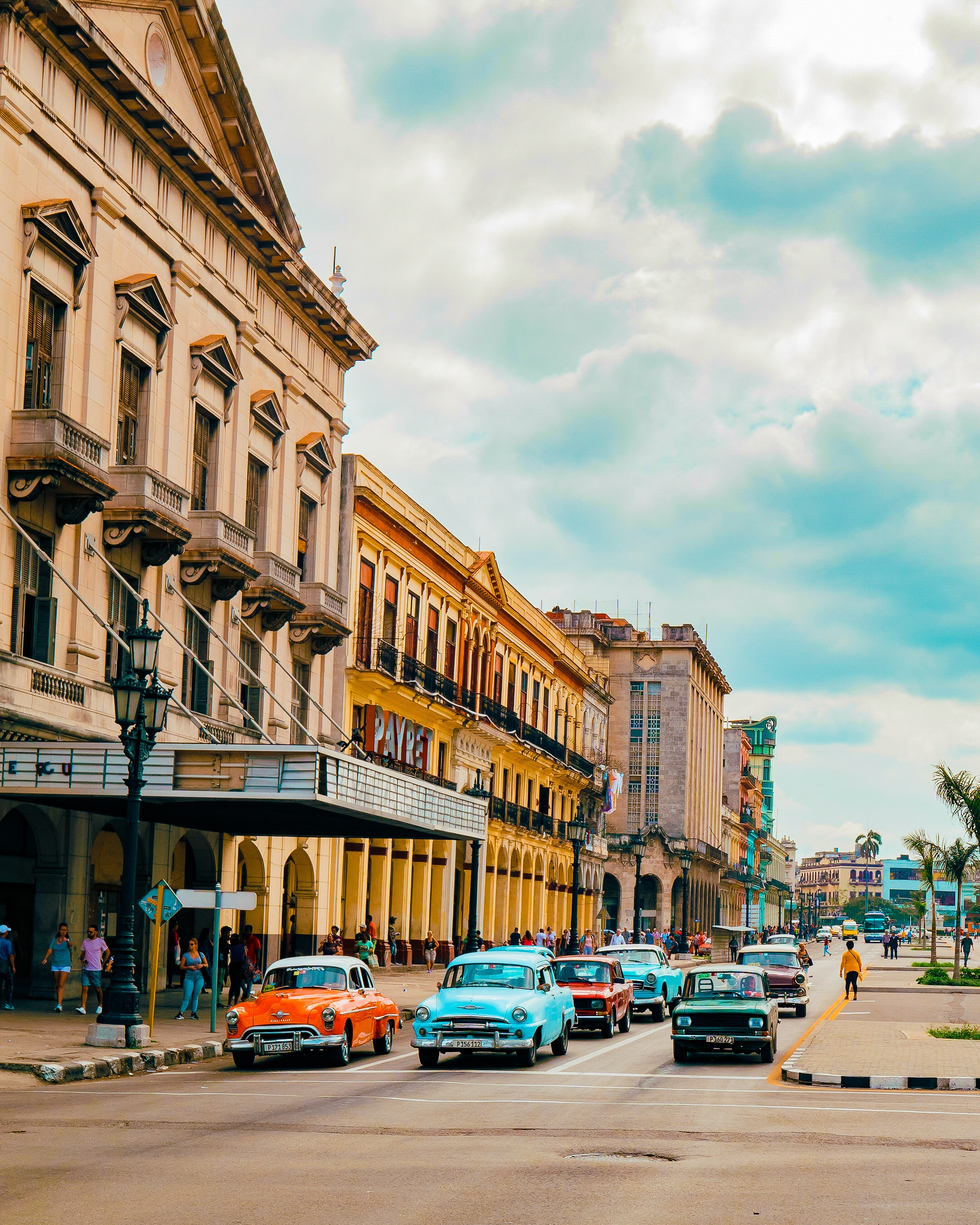 Traffic in front of the famous Payret Theater in Havana, Cuba