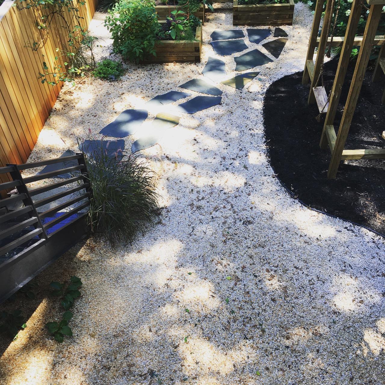 Easy draining gravel underfoot
