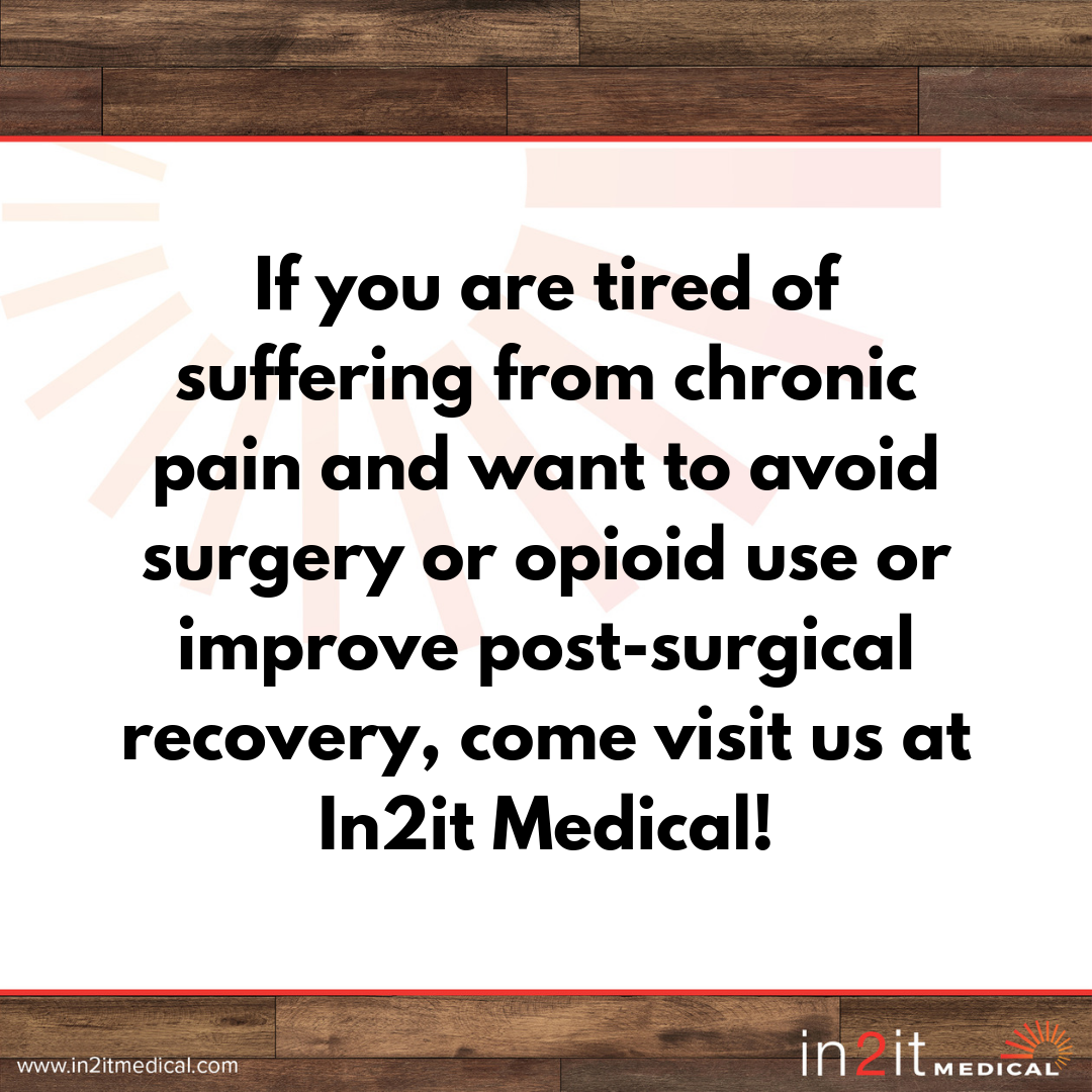 Add a heaIf you are tired of suffering from chronic pain and want to avoid surgery or opioid use or improve post-surgical recovery, come visit us at In2it Medical!ding.png
