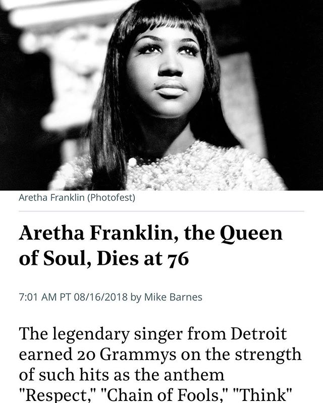 """""""Being the Queen is not all about singing, and being a diva is not all about singing. It has much to do with your service to people. And your social contributions to your community and your civic contributions as well."""" - Aretha Franklin  Gone but never forgotten #queenofsoul"""