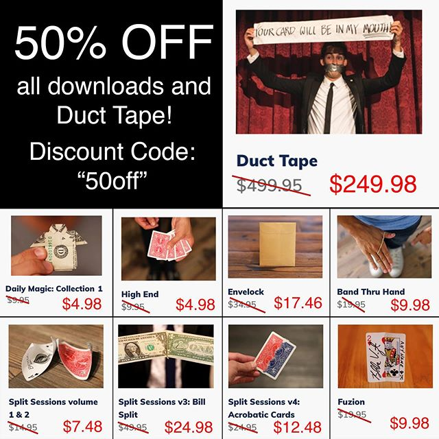 "This weekend only get ""Duct Tape"" and ANY download from the shop 50% off! Just use the discount code ""50off"". Duct Tape is a utility index which can allow you to do so many things. Normally Duct Tape is $500 but this weekend only it is $250. Act fast! Link to shop in bio 👍🏼👍🏼👍🏼 #magic #magician #blakevogt #magictrick #learnmagic"