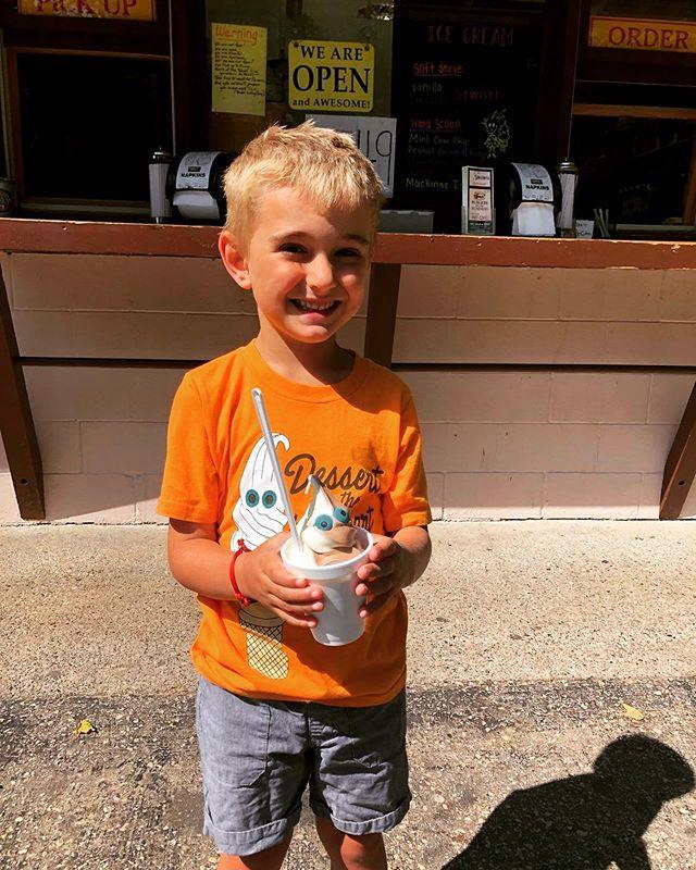Bradley wore his special shirt to The Albatross when he got his ice cream! 🍦❤️ #dessertisthebestpart #candyeyes #onelasticecreamcone #washingtonisland