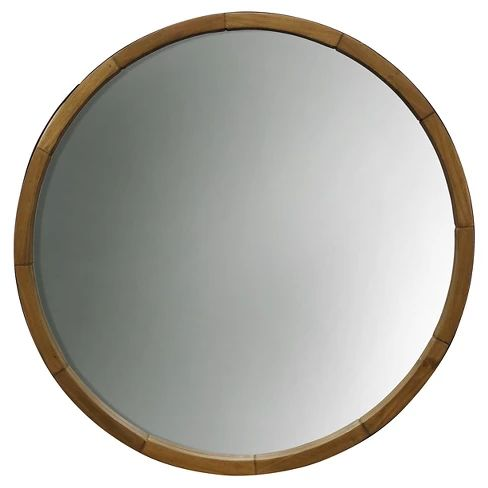 Wood Barrel Frame Mirror
