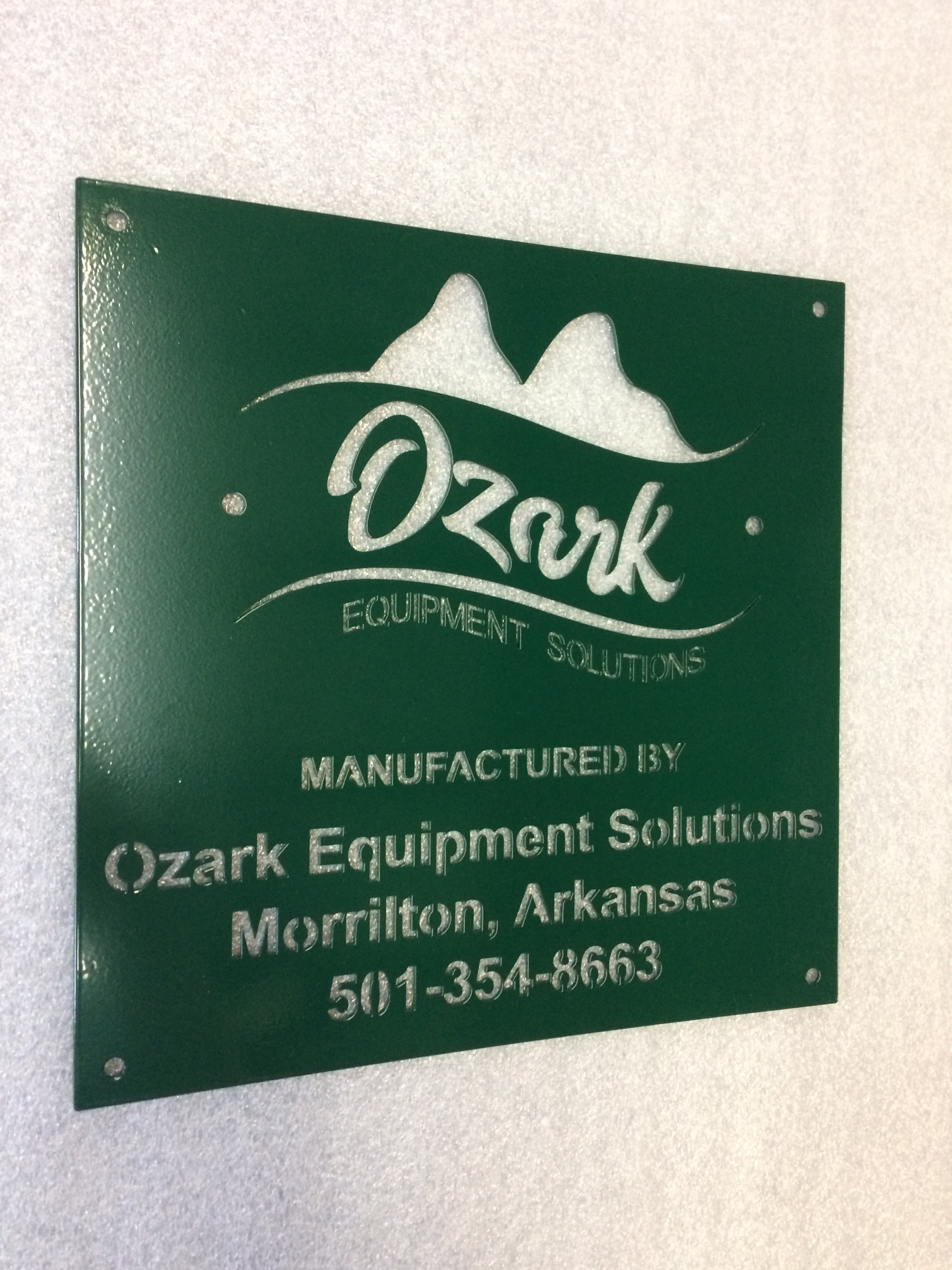 Custom Metal Sign-Ozark Equipment Plates 12x12 Manufactured-left.JPG