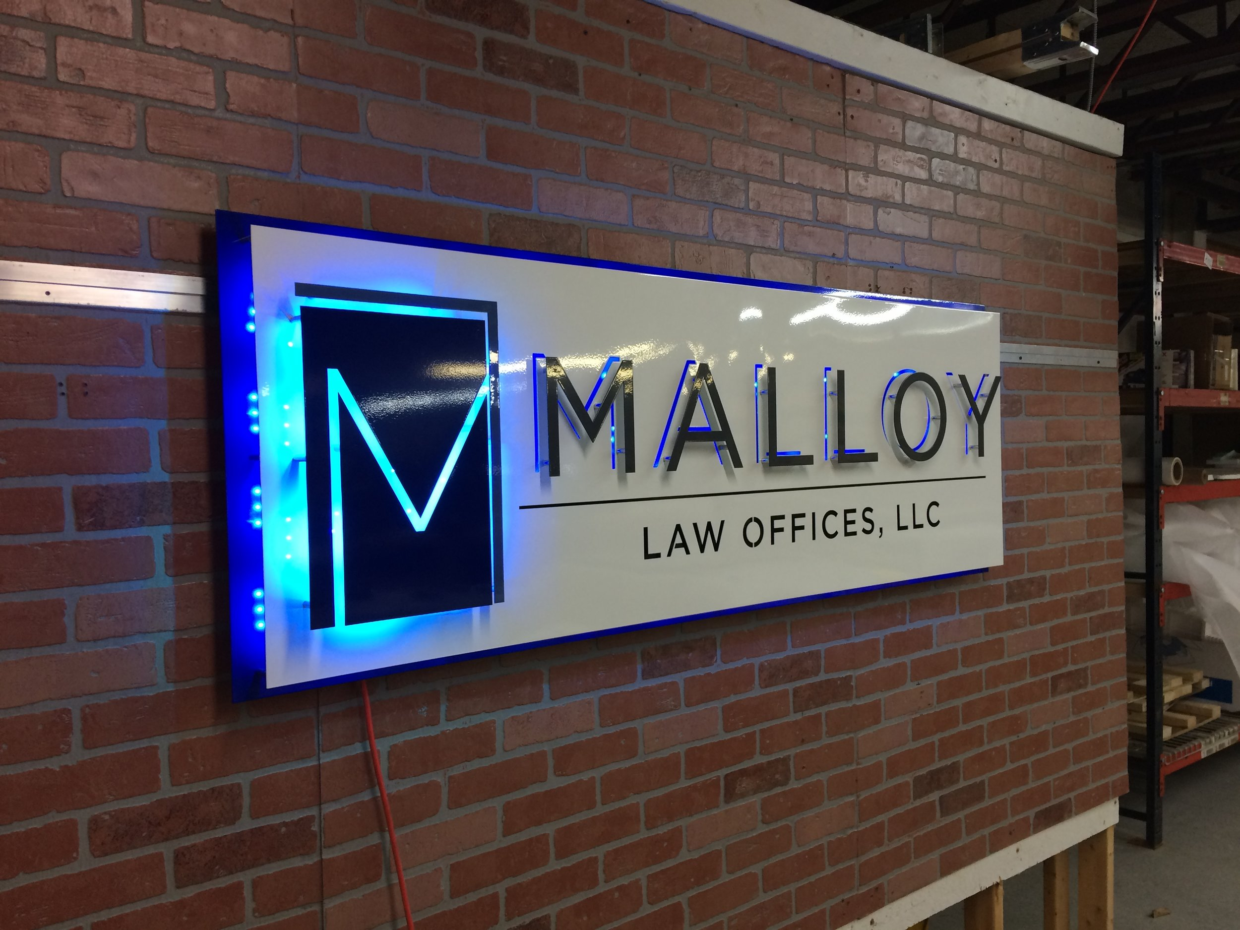 Custom Metal Sign- Malloy Law- Left-lit.JPG
