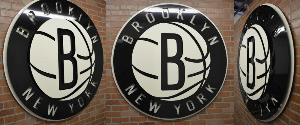 Custom metal corporate signage for the Brooklyn Nets