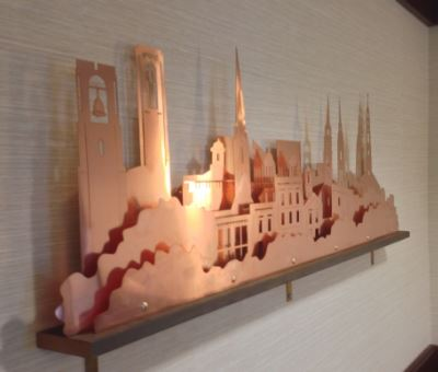 """60"""" wide design - five layers, a representation of Downtown Frederick Maryland. More cityscapes are available!"""