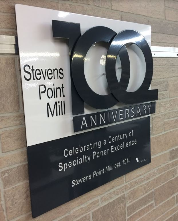 Sign for Stevens Point Mill's 100 Year Anniversary