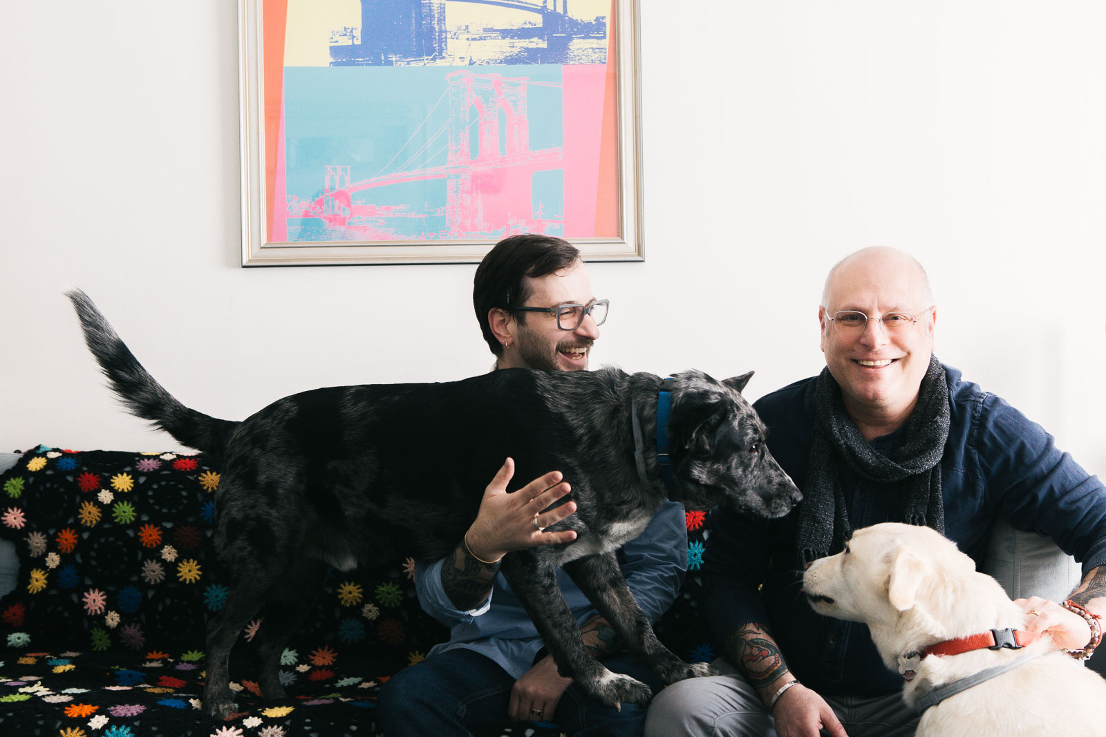 Joe and Gary with their rescue pups Carter and Allie