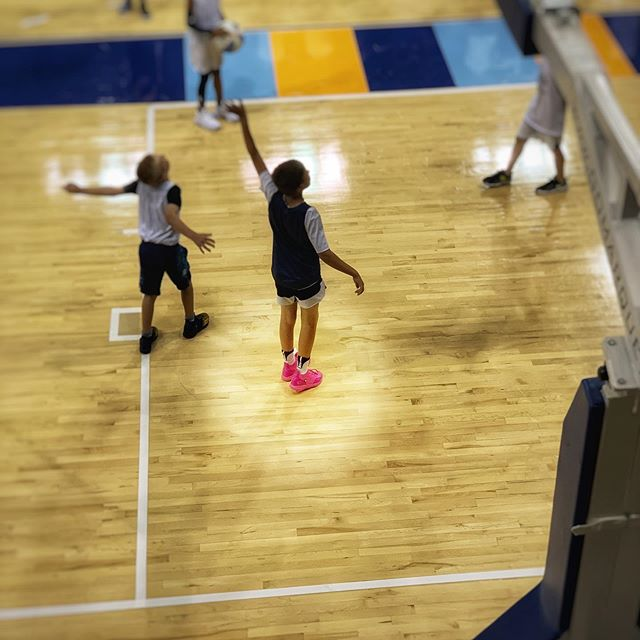 I dropped my son off at basketball camp this morning and in a sea of tiny boys, this one stood out. I loved him immediately. . . #pinkshoes #courage #yougokid #makeshiftgenius