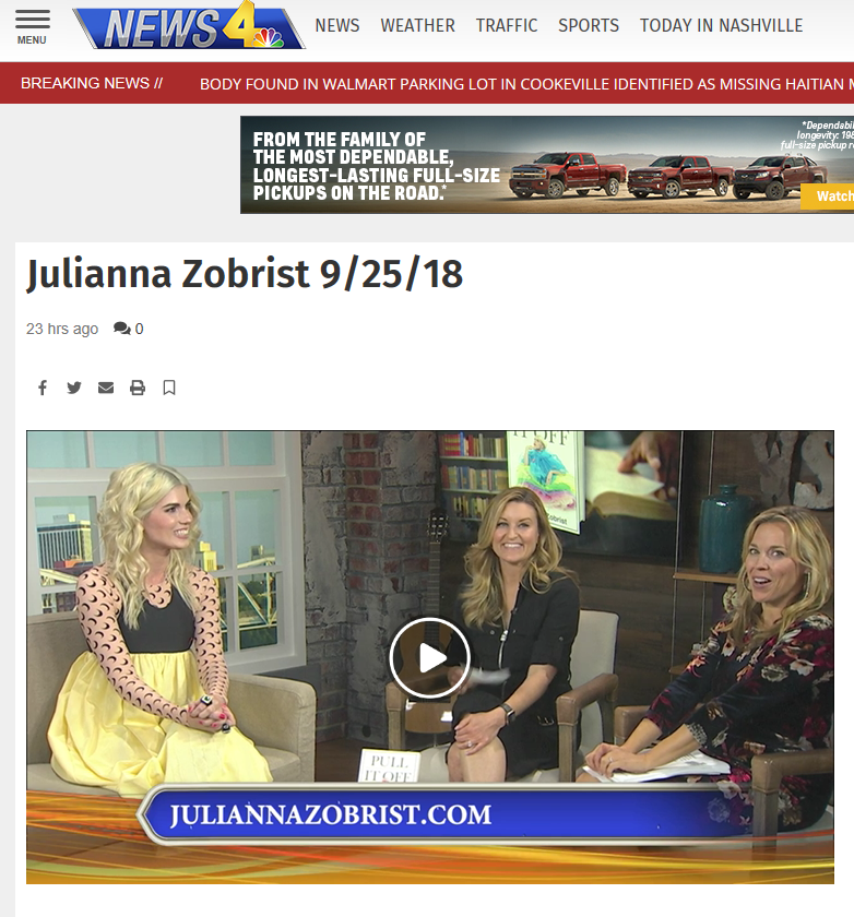 "Julianna's   WSMV TV (CH.4) NBC / ""Today In Nashville""   segment (9/25)"