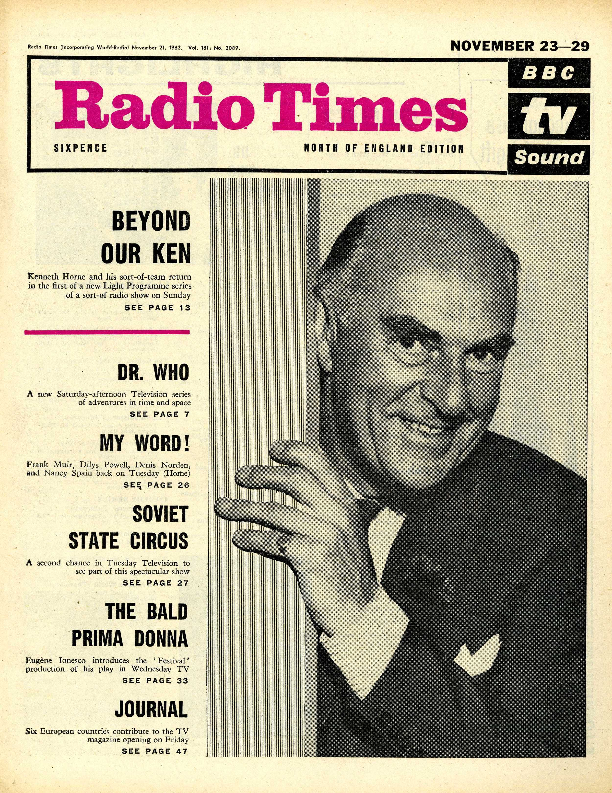 Radio Times, 23-29 November 1963 with  cover announcement for the first episode
