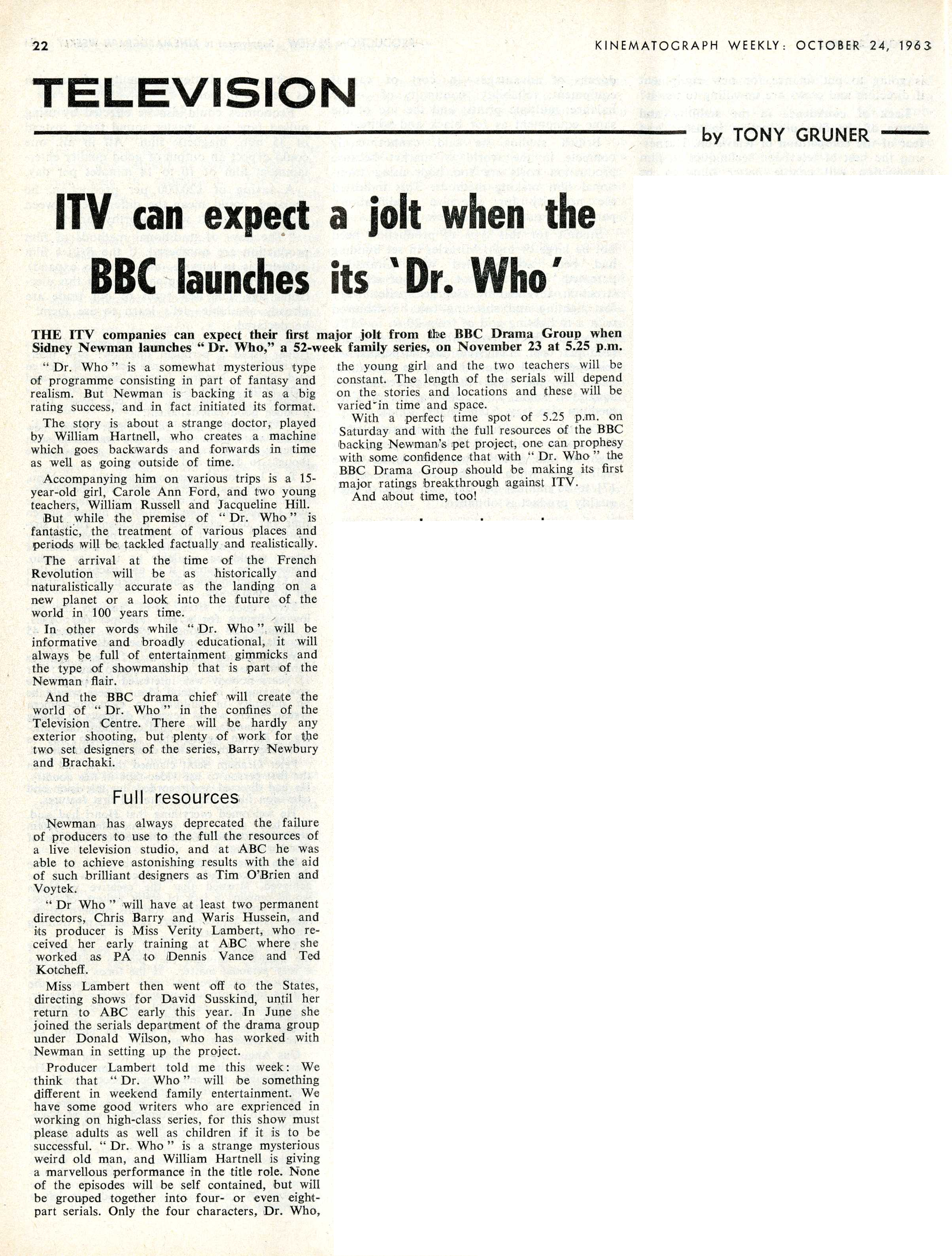 Pre-broadcast media coverage in Kine Weekly, 24 October 1963