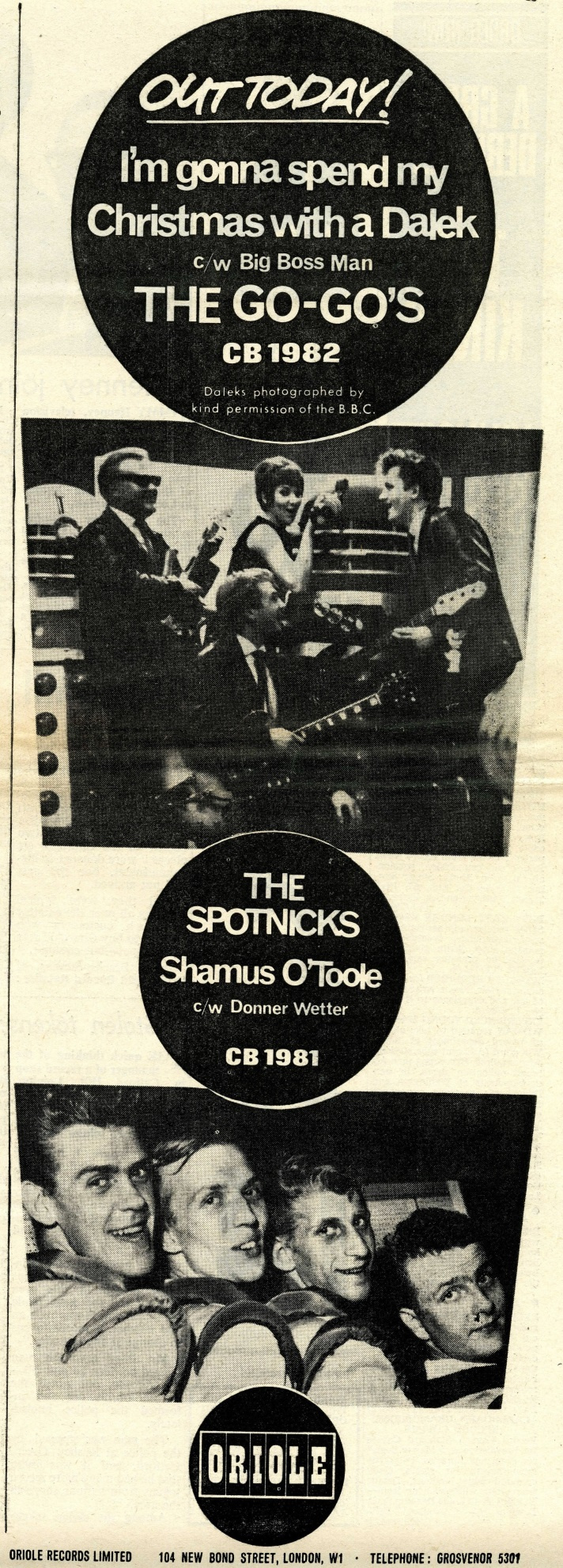 The Go-Go's, I'm Gonna Spend My Christmas With A Dalek, advert in Record Retailer, 8th December 1964