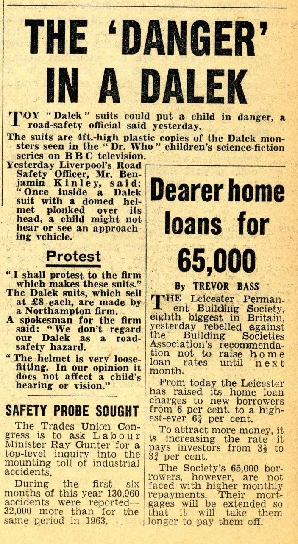 Scorpion Automotives Ltd. Dalek Playsuit article in Daily Mirror, 17 December 1964