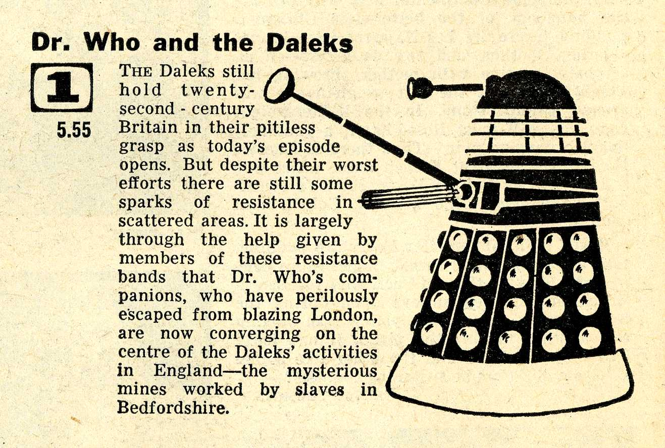 Radio Times. The Dalek Invasion of Earth article, 26 December 1964 - 1 January 1965