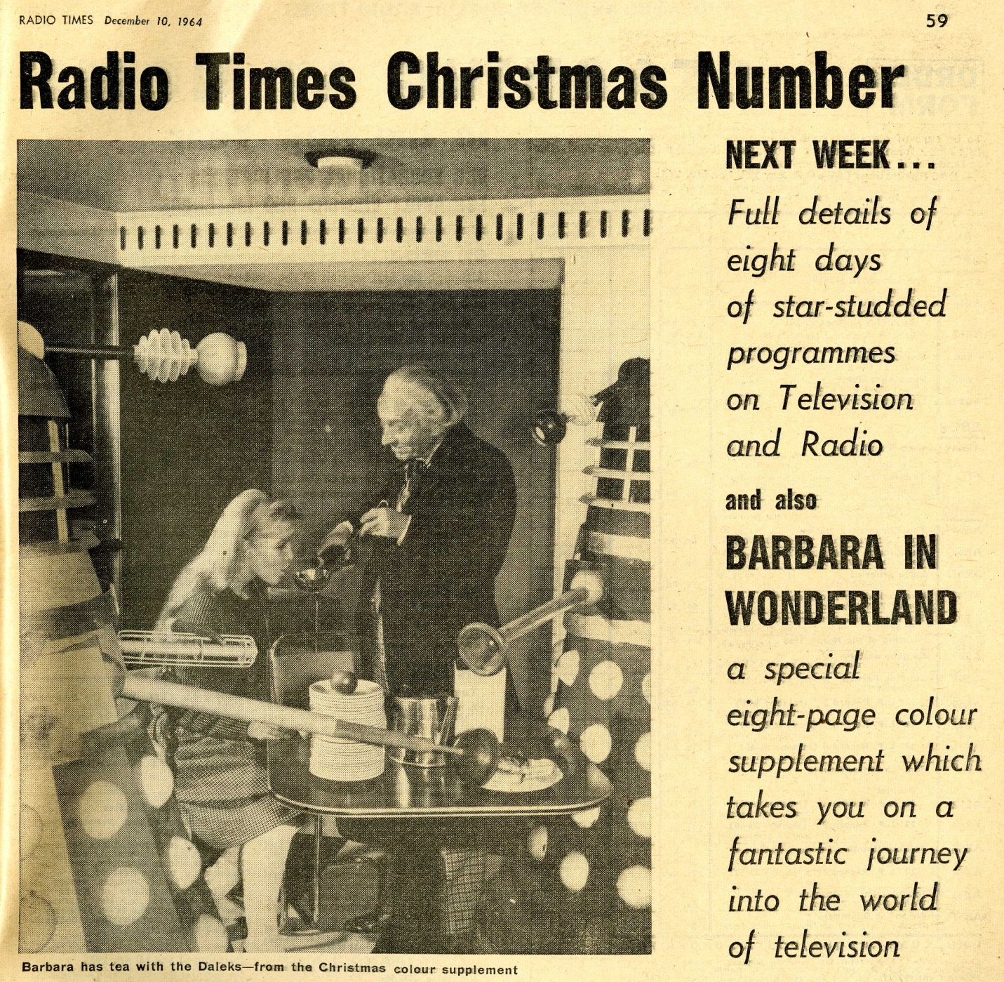 Radio Times. Preview for the Christmas Radio Times, 12-18 December 1964