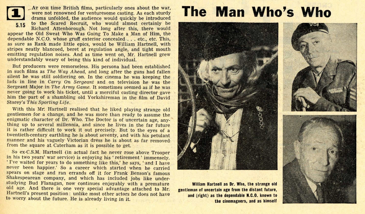 Radio Times. Hartnell article, 18-24 July 1964