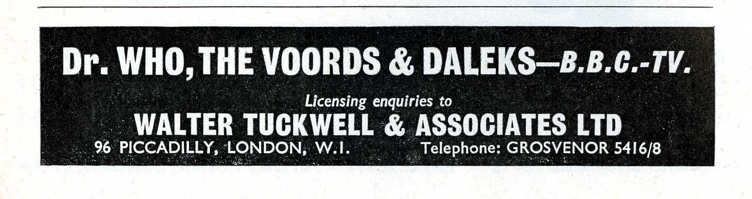 Ad. for licensing enquiries to Walter Tuckwell & Associates, Games & Toys, December 1964