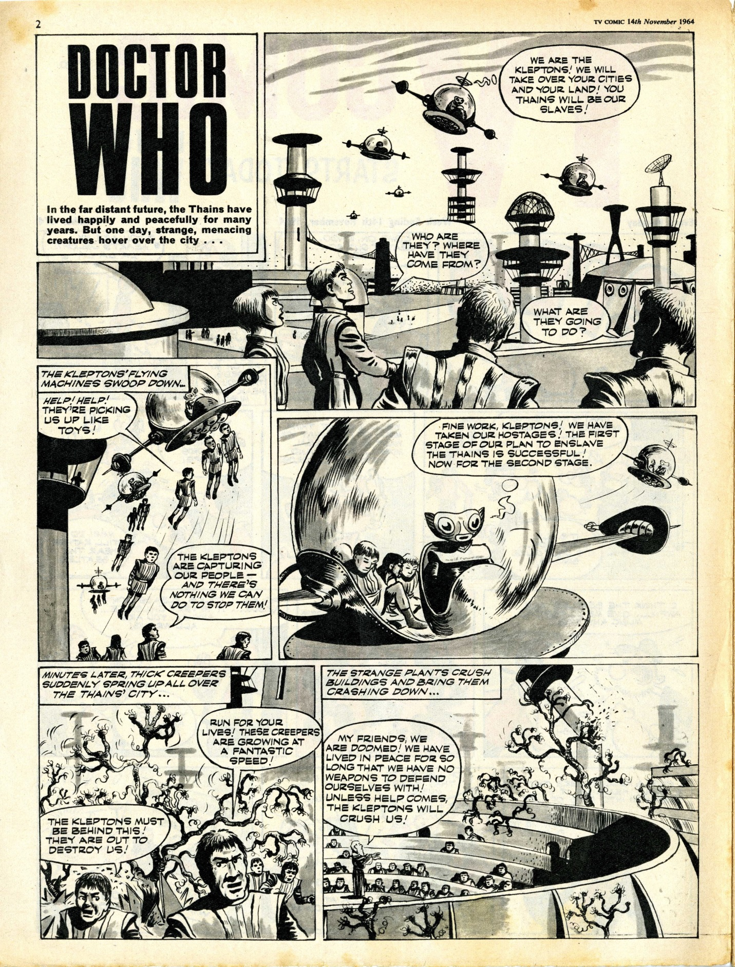 TV Comic No. 674, 14 November 1964, page 1 of The Klepton Parasites, which ran for 10 issues until 16 January 1965