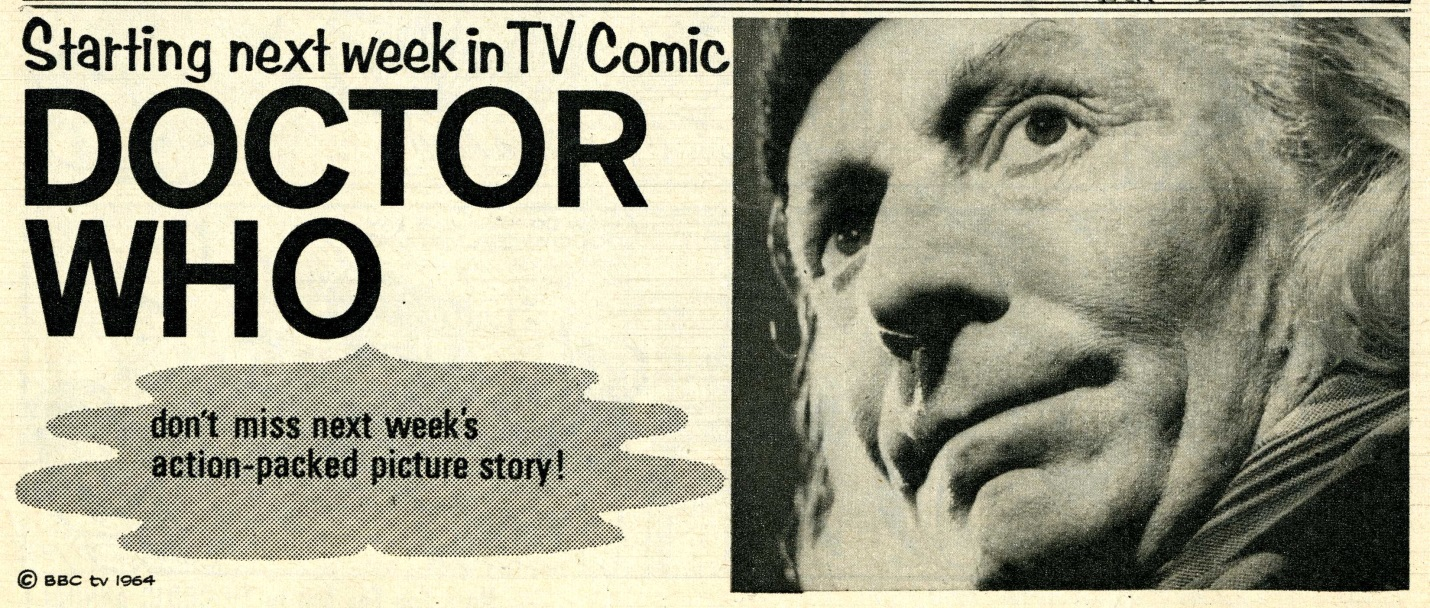 Preview for the upcoming Doctor Who comic strip in TV Comic No. 673, 7 November 1964