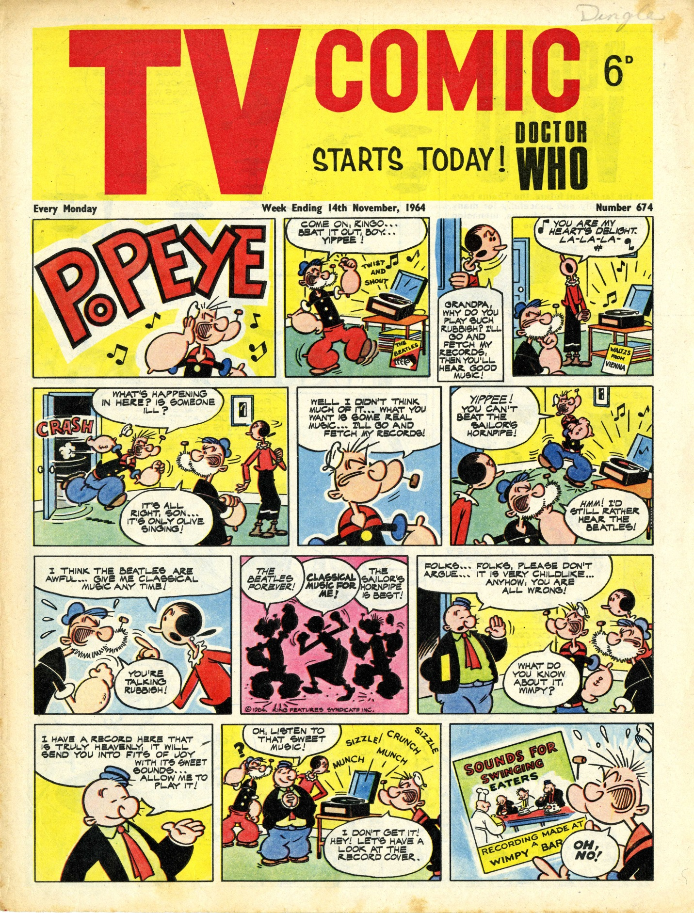 TV Comic No. 674, 14 November 1964, Polystyle Publications. The first issue to contain an official Doctor Who comic strip