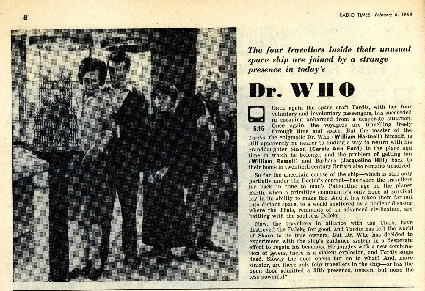 Radio Times. The Edge of Destruction article, 8-14 February 1964