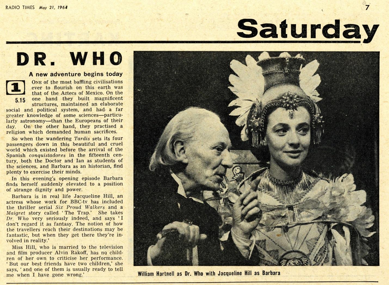 Radio Times. The Aztecs article, 23-29 May 1964
