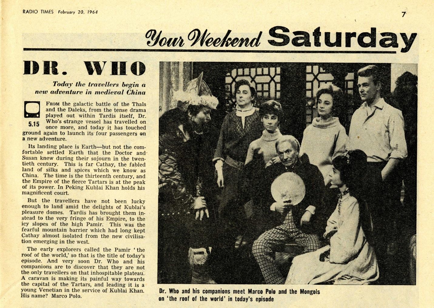 Radio Times. Marco Polo article, 22-29 February 1964