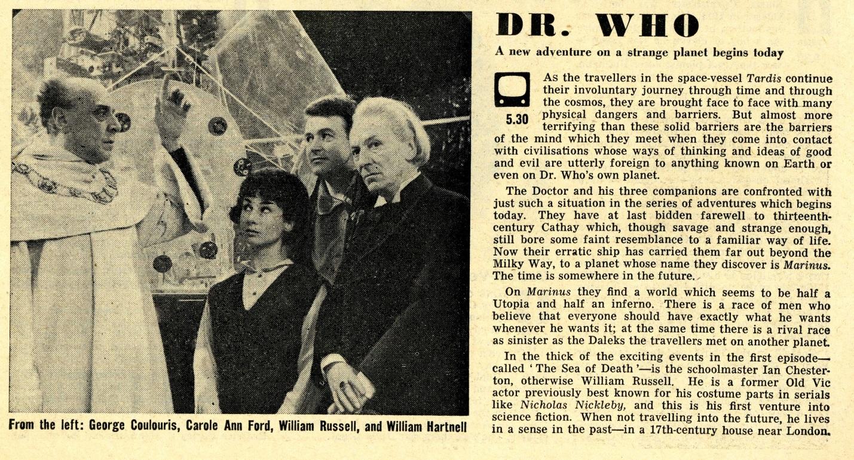 Radio Times. Keys of Marinus article, 11-17 April 1964