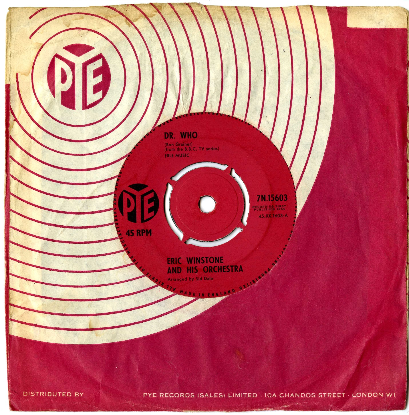 Dr. Who - Eric Winstone and his Orchestra, Pye 45-RPM Single