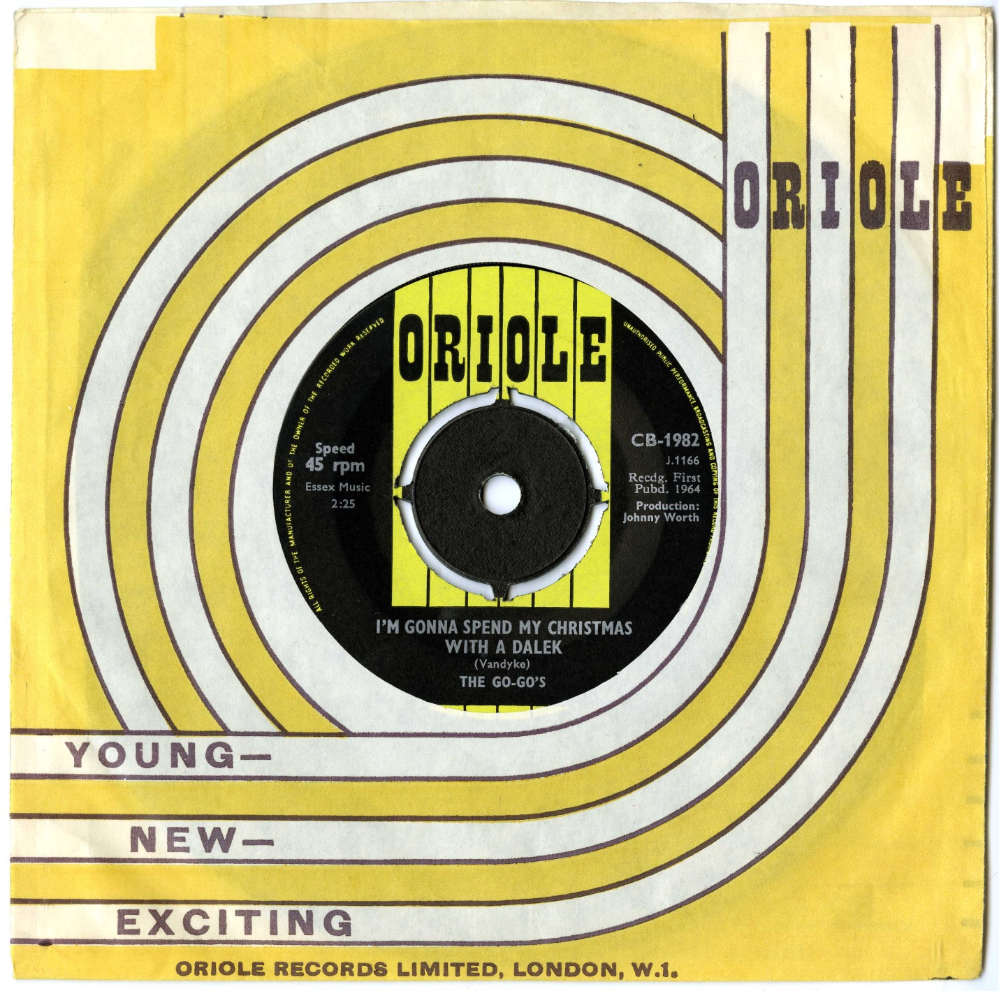 The Go-Go's, I'm Gonna Spend My Christmas With A Dalek, Oriole 45-RPM