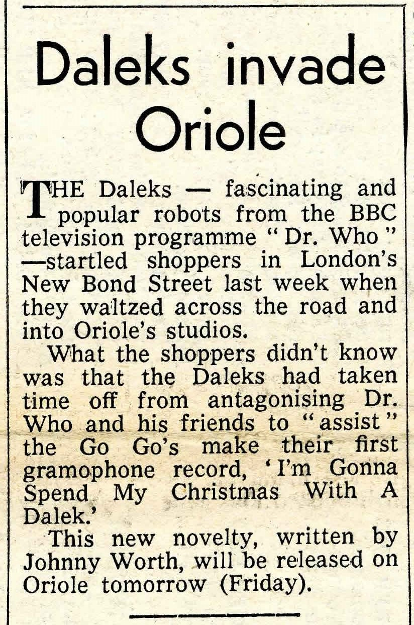 The Go-Go's, I'm Gonna Spend My Christmas With A Dalek, article in Record Retailer, 8th December 1964