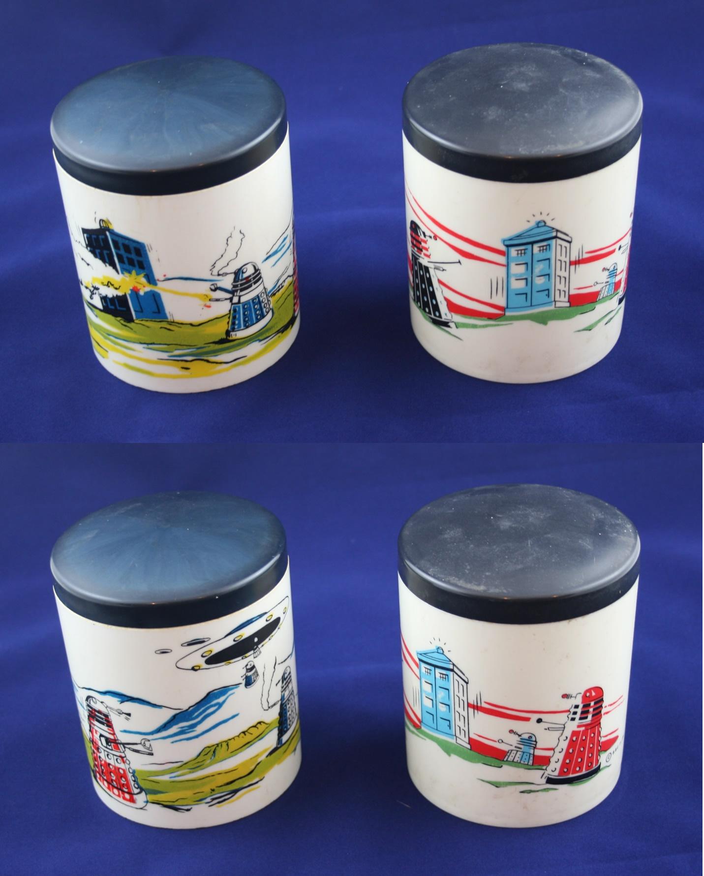 H & B Plastics Ltd., Dalek storage jars: TV Dalek (right, top & bottom) and prototype Movie Dalek (left, top & bottom)