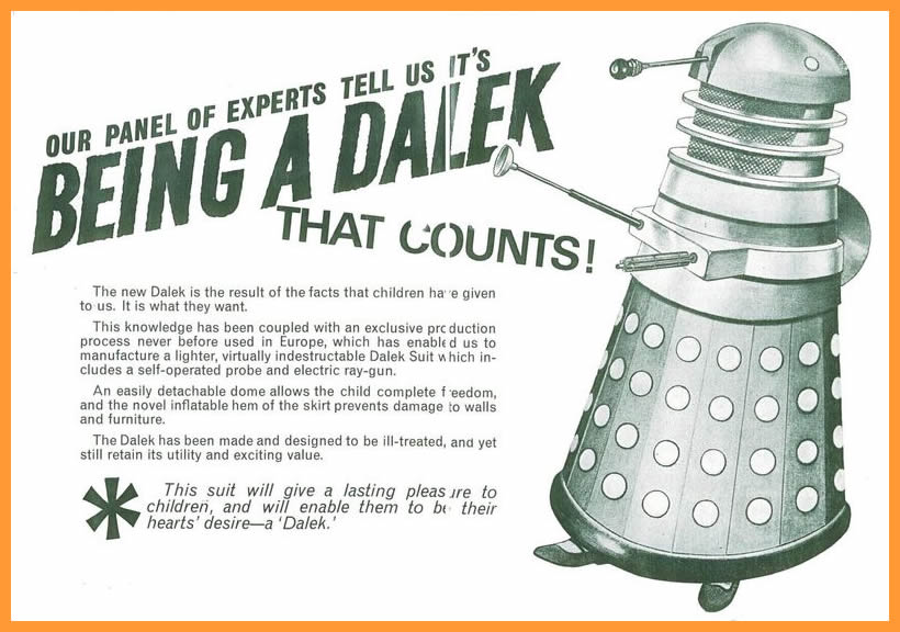 WANTED - Scorpion Automotives Ltd. Dalek Playsuit Mk. III, inside of a promotional flier. No Mk. III playsuits are known to exist. (Image courtesy of Richard Bignell)