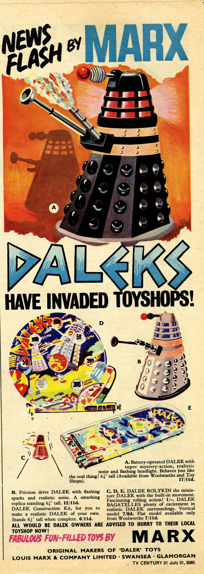 Ad. for Louis Marx and Company Ltd. Dalek toys in TV Century 21 #28, 31 July 2065 (1965)