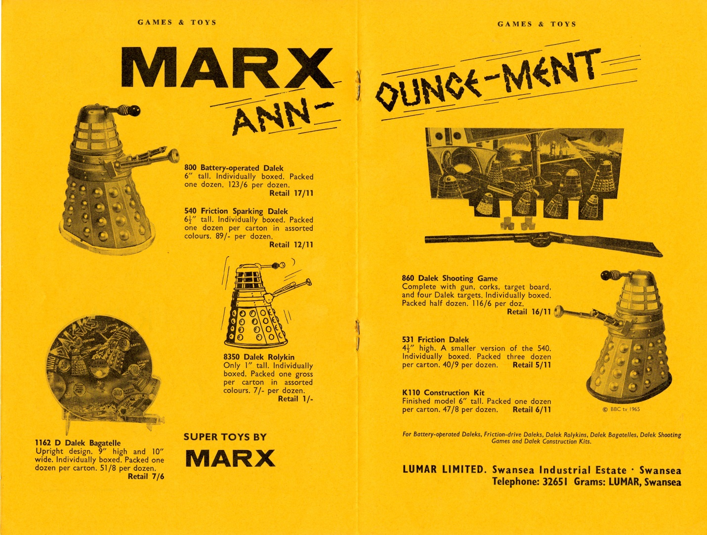 Ad. for Louis Marx and Company Ltd. Dalek toys from the Supplement to Games and Toys, September 1965