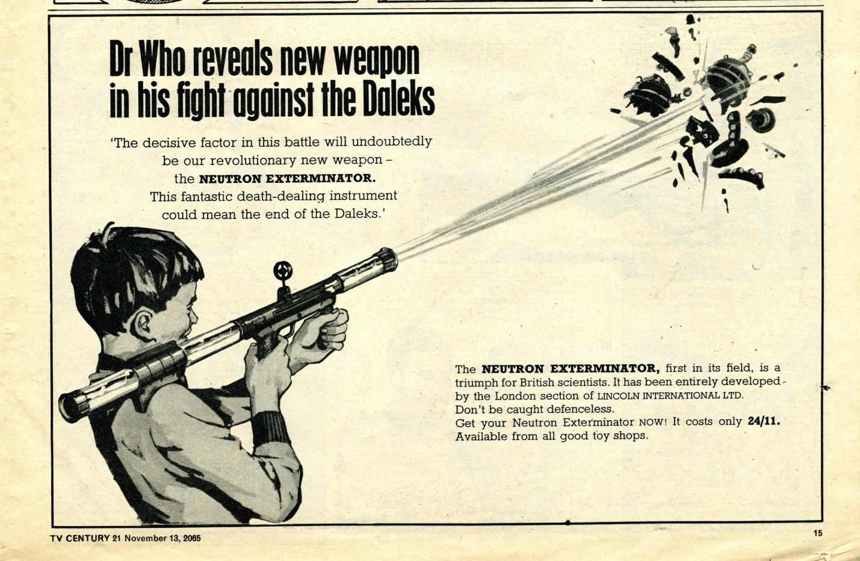 Ad. for the Lincoln International Ltd. Anti-Dalek Neutron Exterminator in TV Century 21 #43, 13 November 2065 (1965)