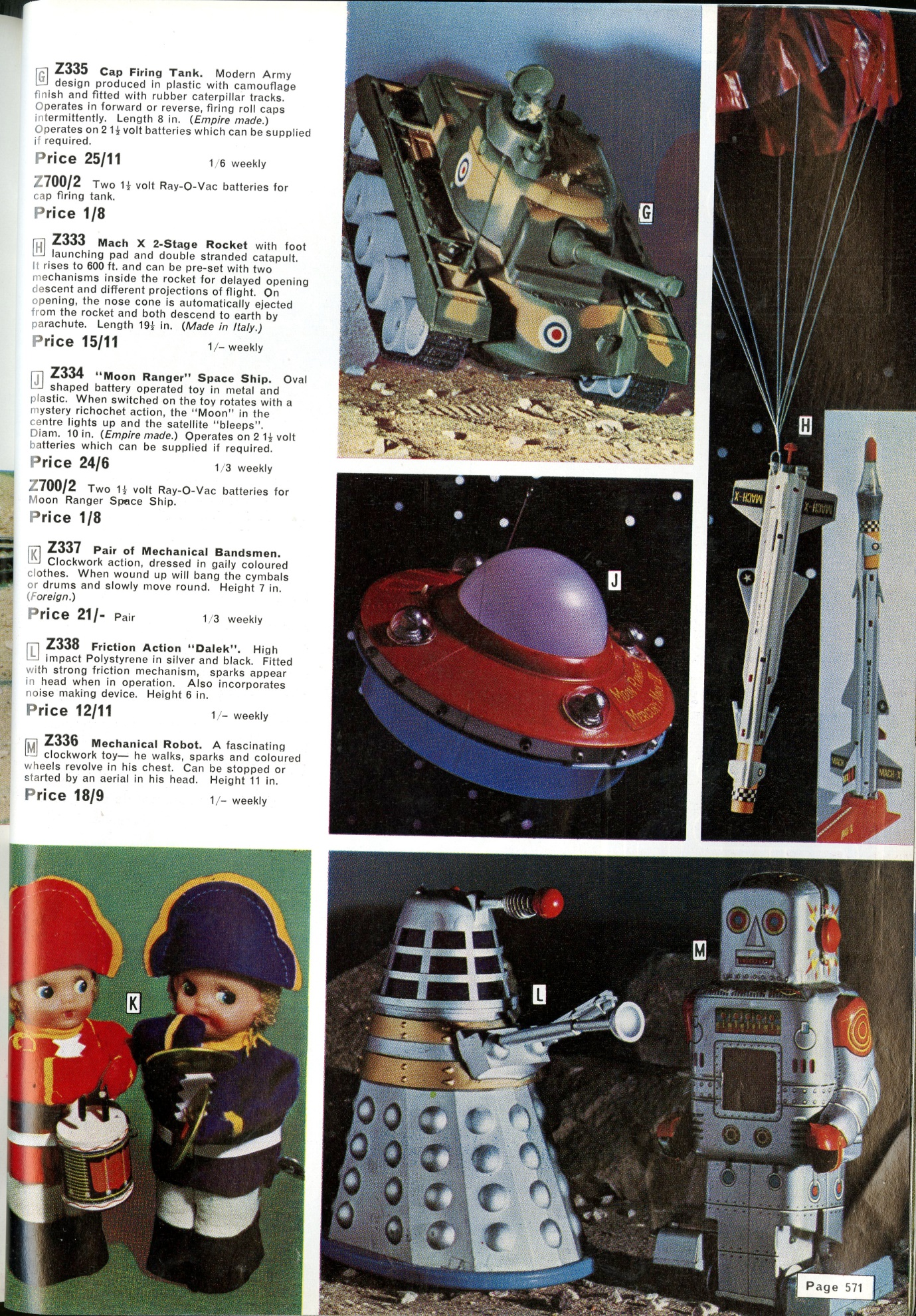 Worldwide Stores Autumn - Winter 1965 catalogue featuring a Louis Marx and Company Ltd. friction-drive Dalek