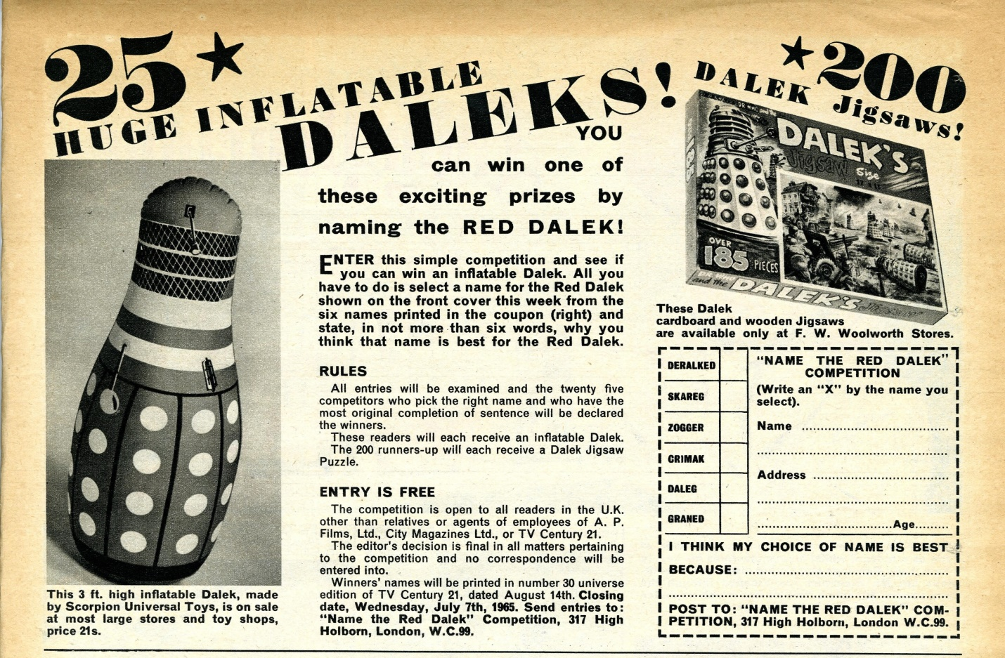 TV Century 21 #23, 26 June 2065 (1965) containing competition with Inflatable Daleks and Dalek jigsaws as prizes