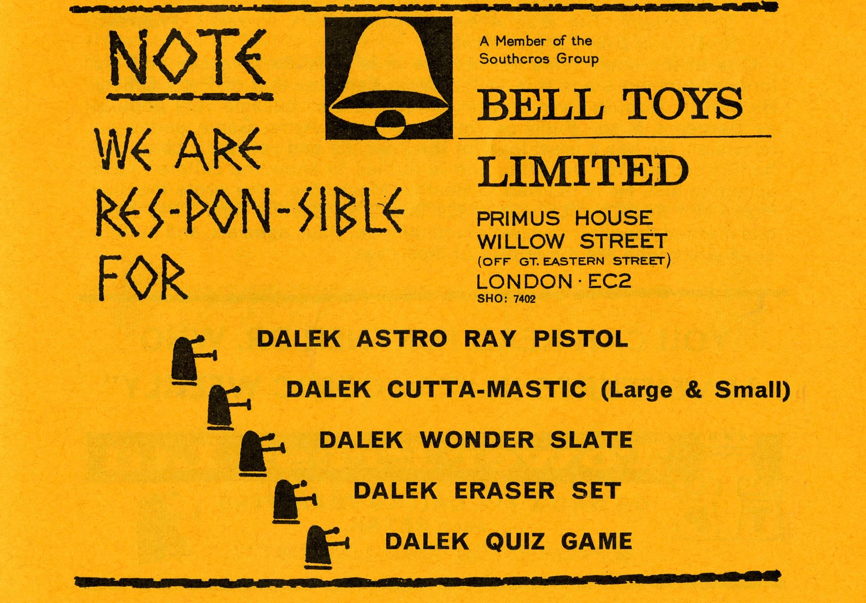 Ad. for Bell Toys Ltd. included in the Supplement to Games and Toys, September 1965