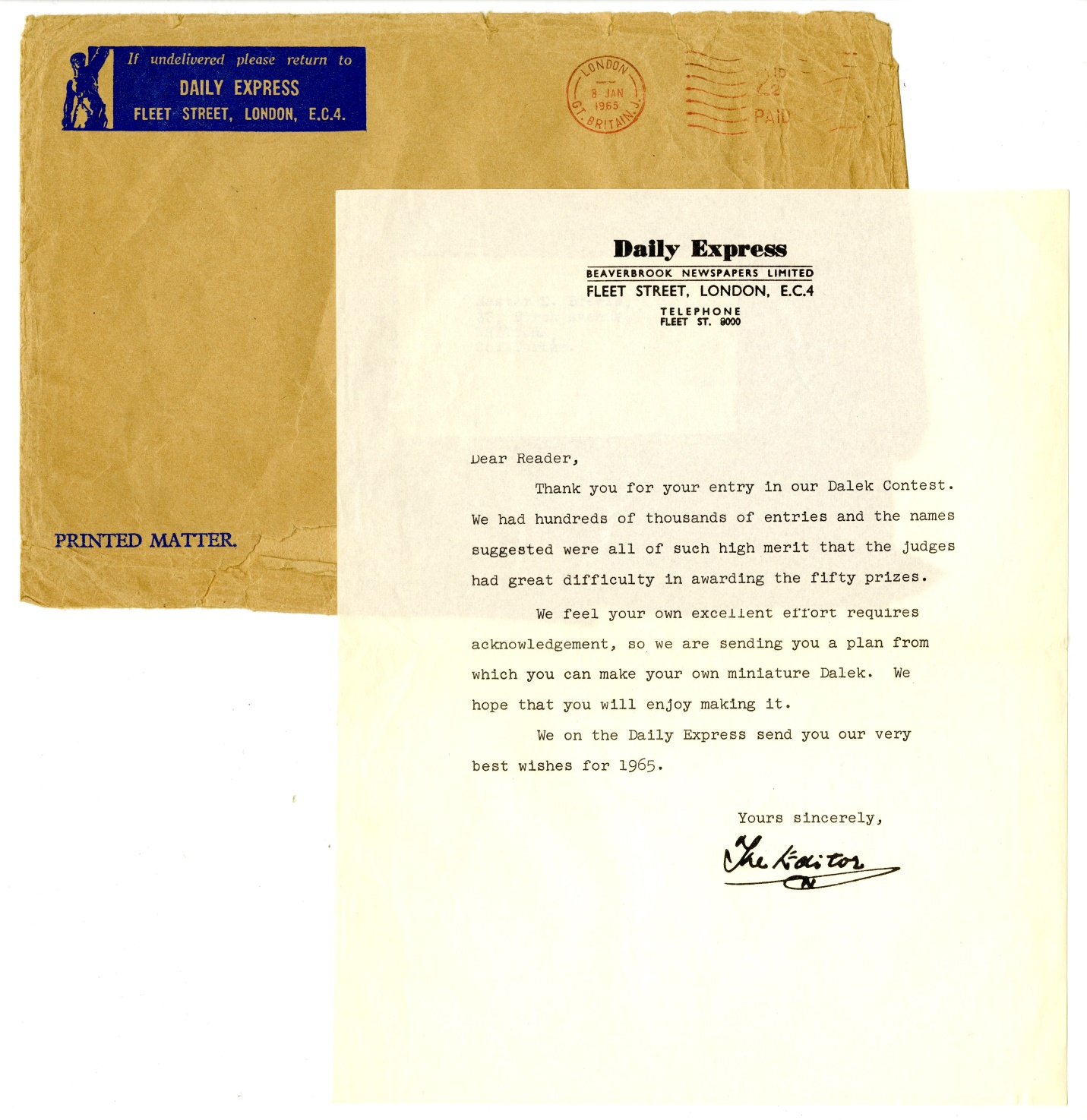 Letter and envelope from the Daily Express accompanying the cut-out Dalek model
