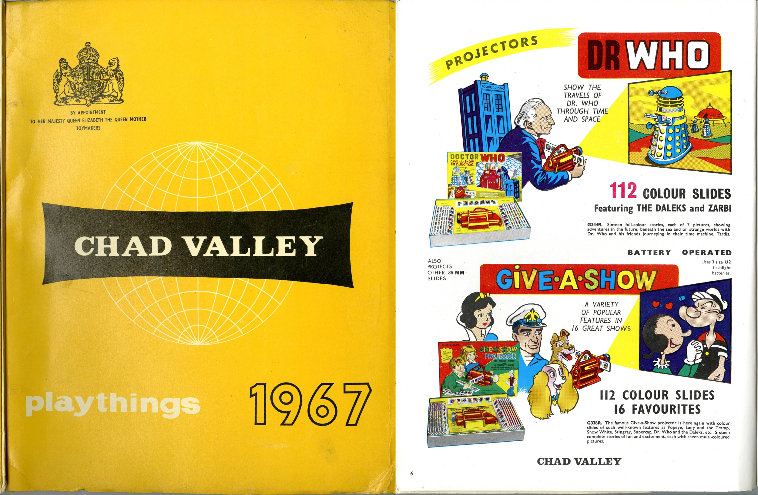 Chad Valley Ltd. 1967 catalogue featuring the Doctor Who Give-A-Show Projector