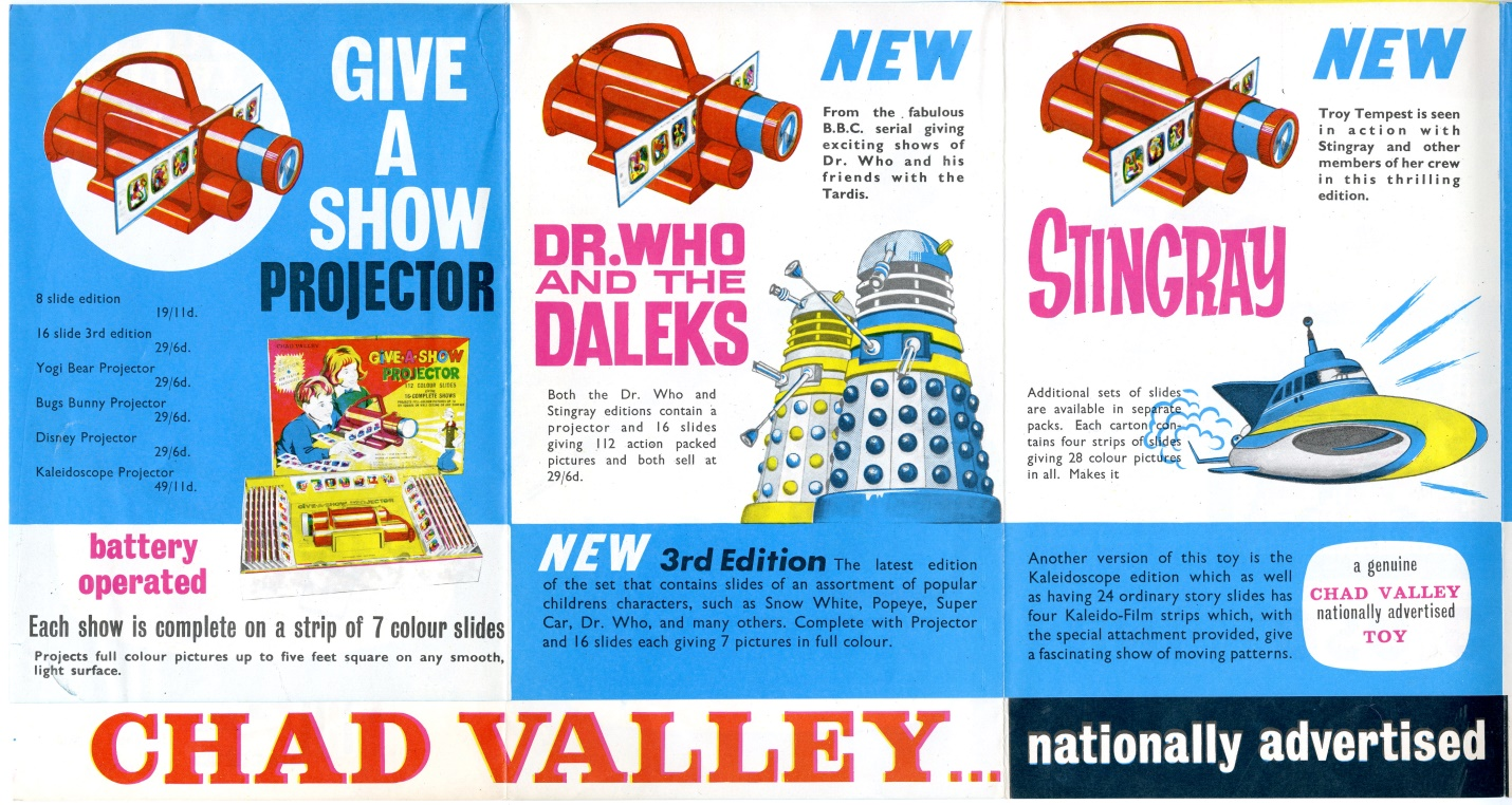 Chad Valley Give-A-Show Projectors advertising brochure featuring the Doctor Who set