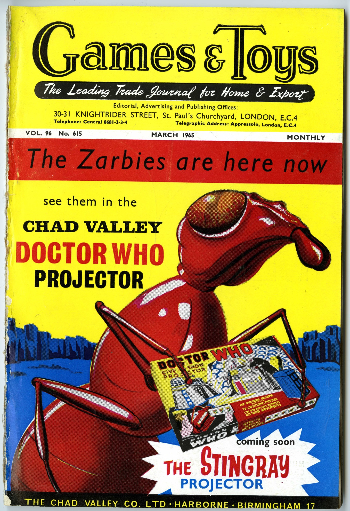 Games and Toys, March 1965 with cover ad. for the Chad Valley Doctor Who Give-A-Show Projector