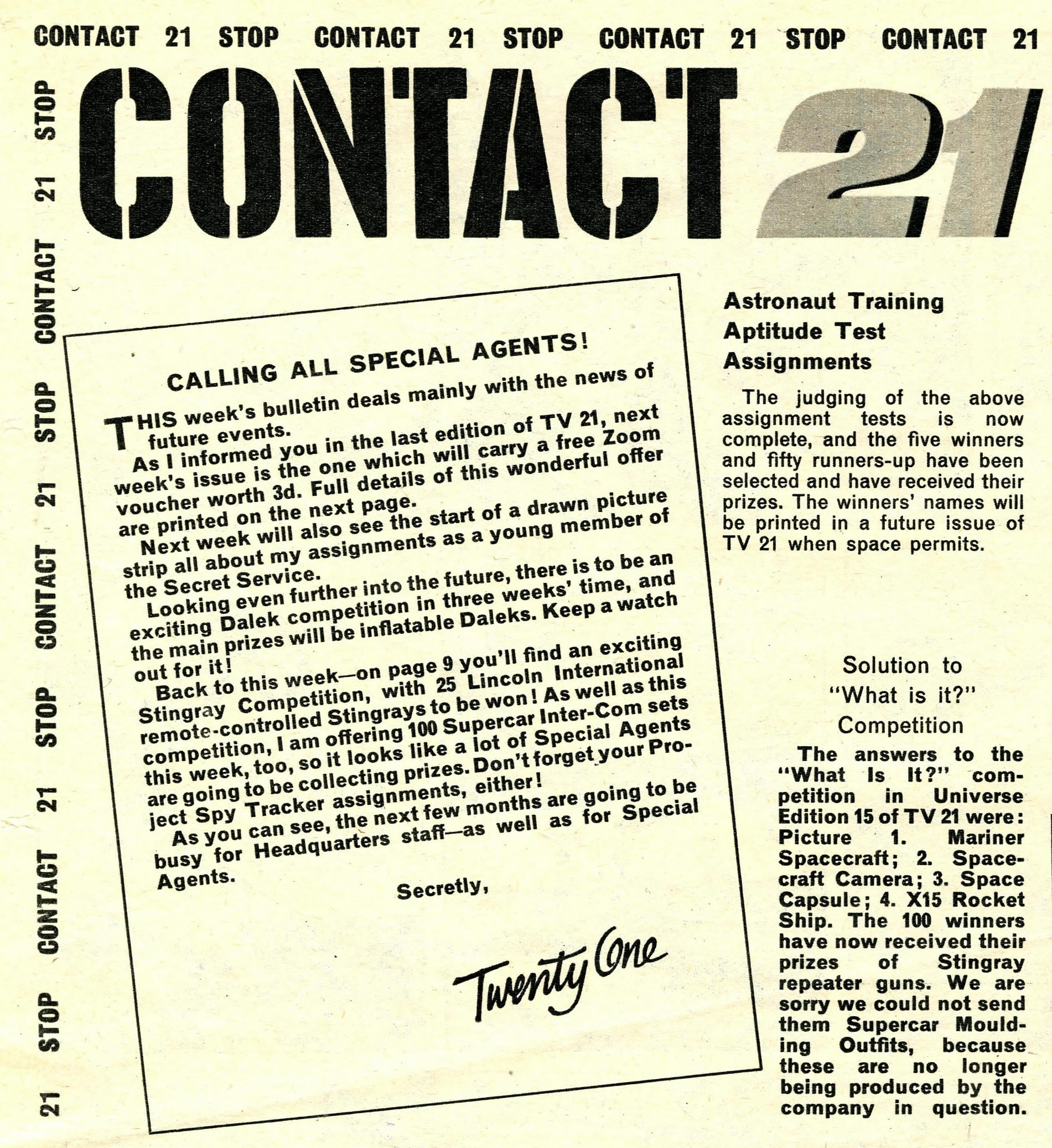 TV Century 21 #21 editorial referencing upcoming Dalek competitions